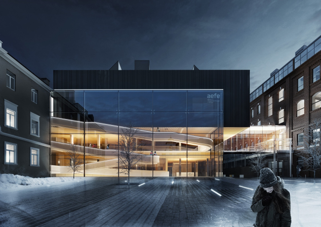 The concept of expanding the French Alexander Dumas Lyceum in the Milyutinsky Alley © SYNCHROTECTURE in collaboration with Agence d'Architecture A.Bechu and SETEC Inginiring