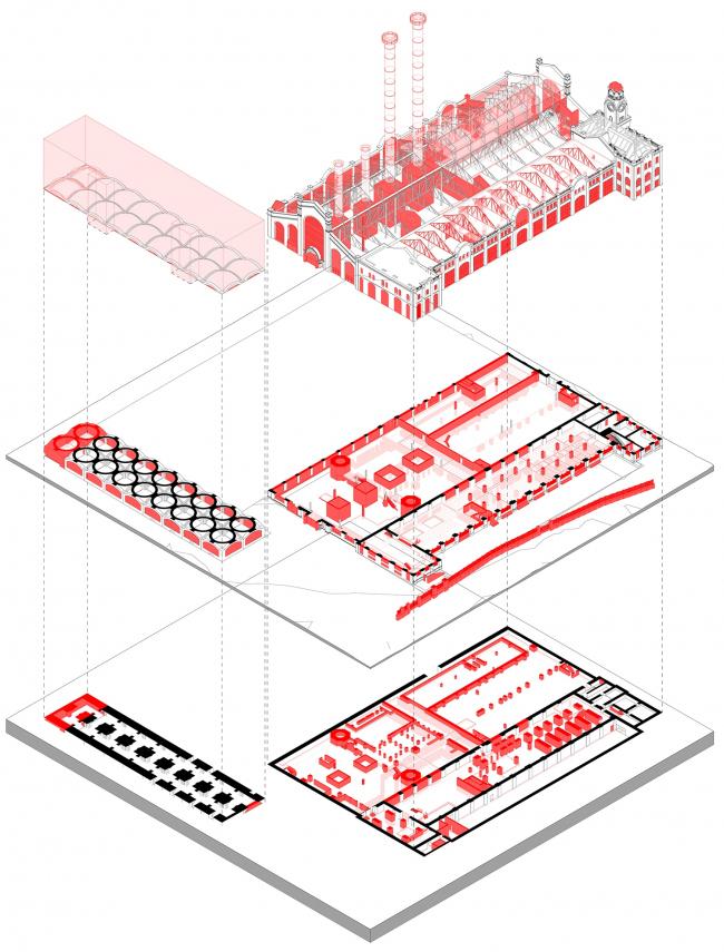 ГЭС-2. Взрыв-схема демонтируемых и сохраняемых частей здания © Проектное бюро АПЕКС