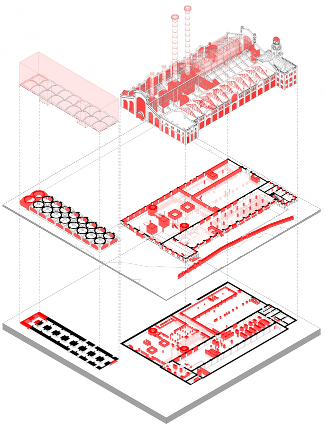 GES-2. Exploded view of the dismantled and preserved parts of the building © APEX project bureau