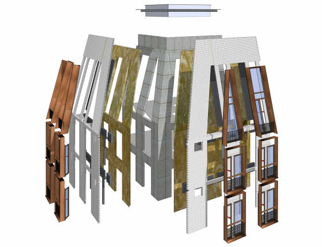 A housing complex at the Dolgorukovskaya Street. Exploded view of the layers of the facade © APEX project bureau