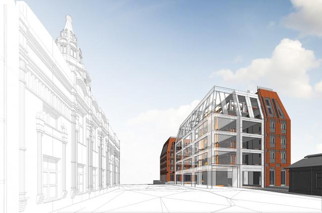 Перспективный вид, созданный на основе BIM-модели комплекса на Долгоруковской улице © Проектное бюро АПЕКС