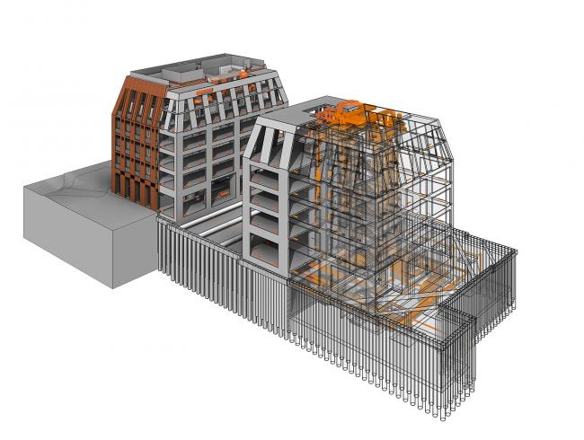 ЖК на Долгоруковской улице. BIM-модель c послойным отображением элементов здания © Проектное бюро АПЕКС
