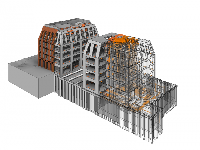 A housing complex at the Dolgorukovskaya Street. BIM model with fiber mapping of the elements of the building © APEX project bureau