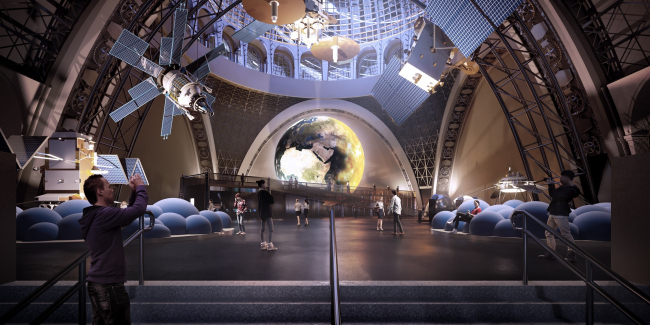Центр «Космонавтика и Авиация». КБ-3 – подкупольное пространство © Архитекторы Асс