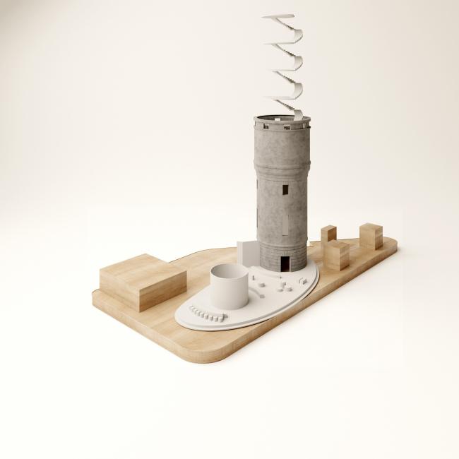 Реконструкция водонапорной башни в Щербинке. Макет © IND Architects