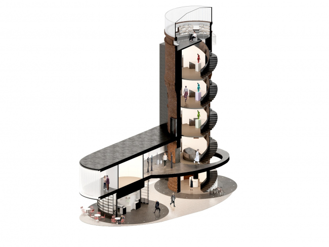 Реконструкция водонапорной башни в Щербинке. Разрез © IND Architects