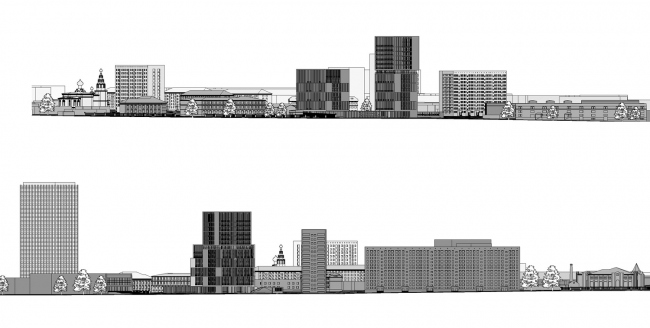 """""""Egodom"""" housing complex. Development drawings along the main axes © Sergey Skuratov ARCHITECTS"""