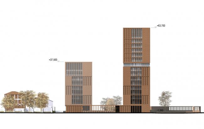 """Egodom"" housing complex. The main facade © Sergey Skuratov ARCHITECTS"