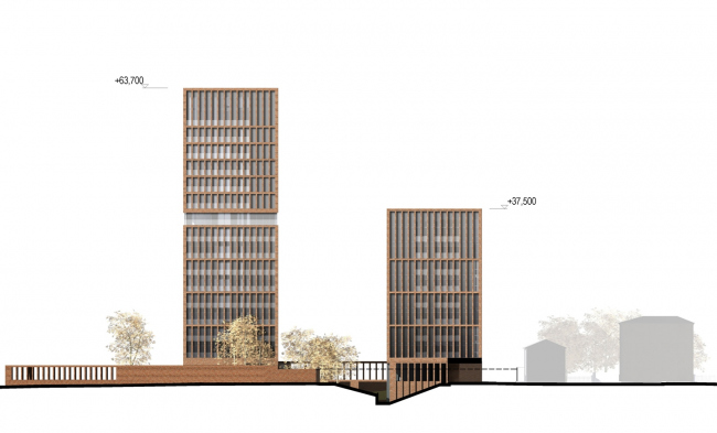 """""""Egodom"""" housing complex. The lateral facade © Sergey Skuratov ARCHITECTS"""