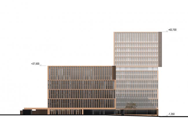 """Egodom"" housing complex. The side facade © Sergey Skuratov ARCHITECTS"