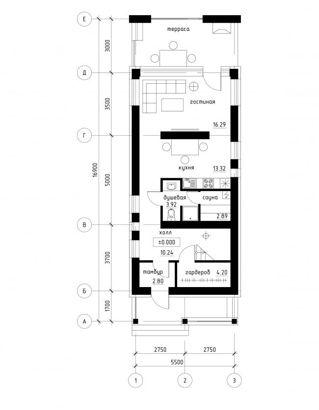 Проект застройки малоэтажными жилыми домами в респ. Карелия. План 1 этажа © архитектор Рамил Голубев