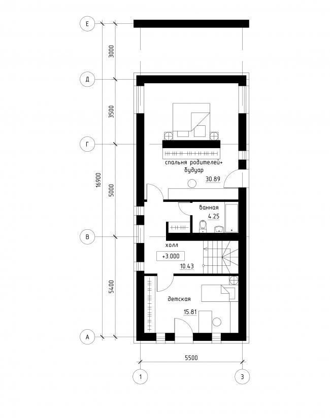 Проект застройки малоэтажными жилыми домами в респ. Карелия. План 2 этажа © архитектор Рамил Голубев