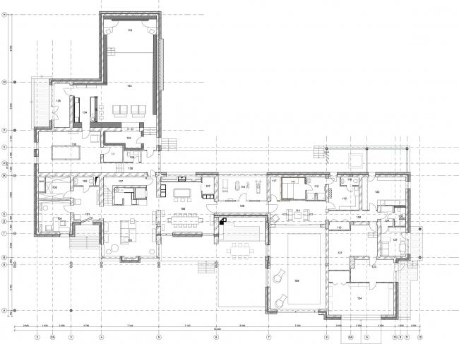 Omega House. План 1 этажа © Архитектурное бюро Романа Леонидова