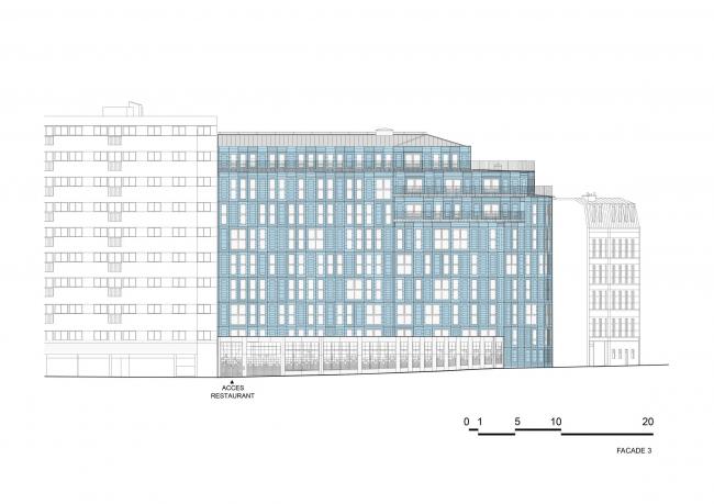 Социальное жилье и социальная столовая в Париже © Périphériques Architectes