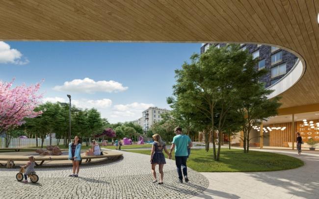 Городская площадь рядом с ЖК «Фили Сити» © BuroMoscow. Изображение предоставлено пресс-службой «Москомархитектуры»