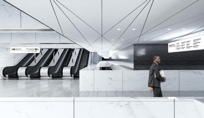 Концепция оформления станции «Нагатинский затон» © Vertex Architects