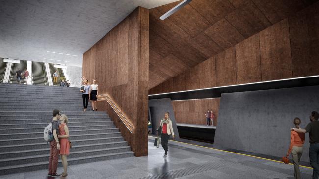 Концепция оформления станции «Нагатинский затон» © HAAST + Sporaarchitects (Россия – Венгрия)