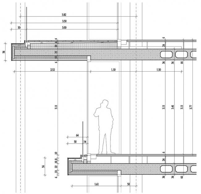 Сечение по элементу балкона. Проект застройки территории Бадаевского пивоваренного завода