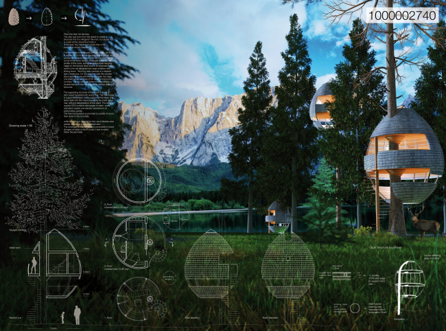 Дома на деревьях Pigna, проект © Architetto Beltrame Claudio