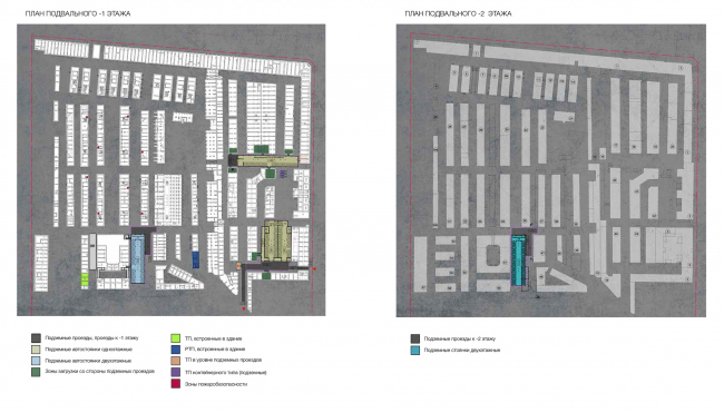 """Plan of the basement floor on the -1st and -2nd level. Version 2. Renovation and reorganization to fit modern functions of the regional cultural heritage site """"Apraksin Dvor with the Mariinsky Market"""" © Studio 44"""