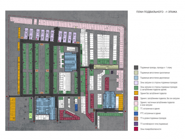 """Plan of the basement floor on the -1st level. Version 2. Renovation and reorganization to fit modern functions of the regional cultural heritage site """"Apraksin Dvor with the Mariinsky Market"""" © Studio 44"""