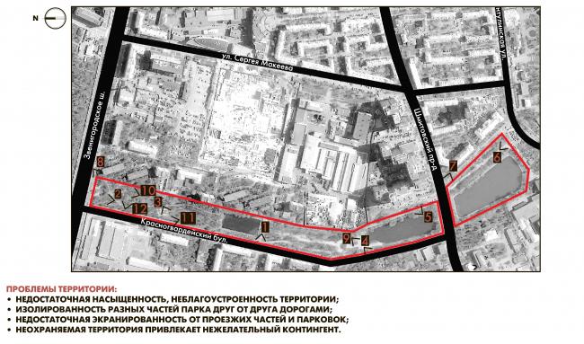 Reorganization of the Krasnogvardeiskie Ponds. Analysis of the original situation © WOWHAUS