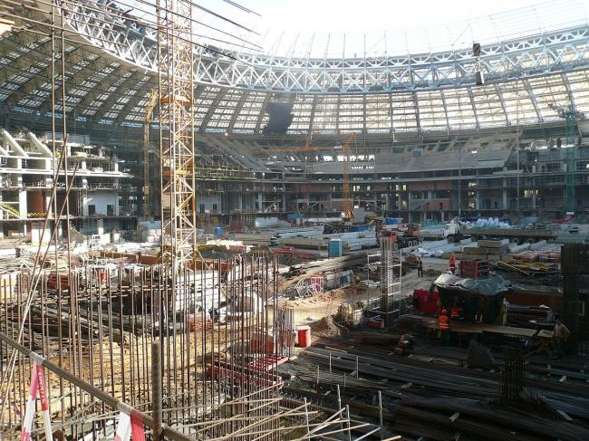 Реконструкция стадиона «Лужники». Фото: Ctac via Wikimedia Commons. Лицензия CC BY-SA 4.0