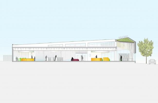 Библиотека района Кью-Гарденс-Хиллс © WORKac