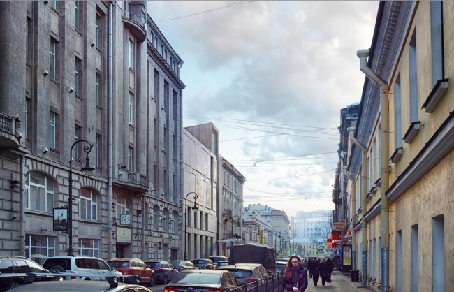 Concept of developing the Dostoyevsky Literary Memorial Museum. View of the museum from the Marata Street © Evgeny Gerasimov & Partners