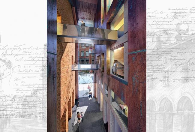 Concept of developing the Dostoyevsky Literary Memorial Museum. Atrium © Evgeny Gerasimov & Partners