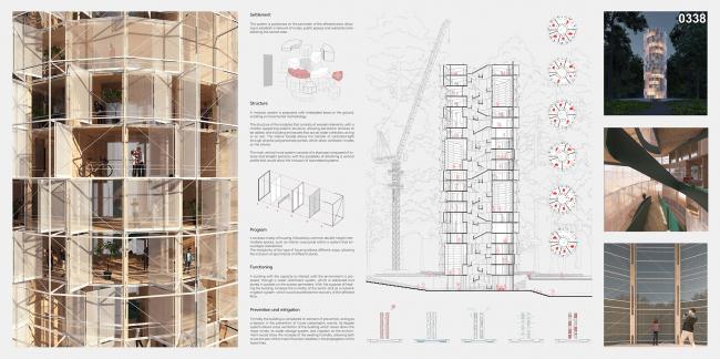 Проект «Противопожарный небоскреб» (Waria Lemuy: Fire Prevention Skyscraper). Автор:  Клаудио К. Арая Ариас, Чили