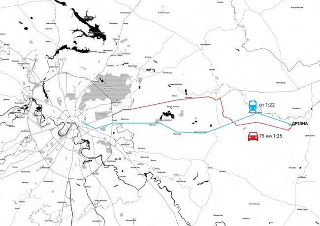 Концепция развития туристического бренда Дрезны. Общая карта © Архитектурное бюро Мегабудка