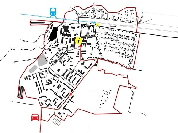 Концепция развития туристического бренда Дрезны. Сценарии пребывания туристов в городе. Турист попадает в город (на машине, автобусе или поезде). Определяем места для возможного расположения туристическо-информационных центров или инфо-стоек © Архитектурное бюро Мегабудка