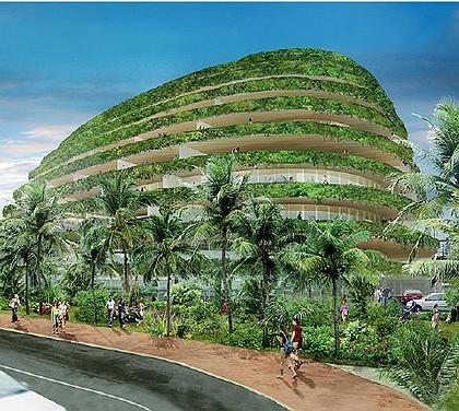 САДЫ СЕМИРАМИДЫ  Пальмы, орхидеи и прочая бурная растительность для Чада — родная стихия. Он постоянно думает о том, как примирить природную и архитектурную среду.  Так как большая часть его проектов — небоскребы, задача особенно сложная. Часто на крышах и террасах Оппенхайм разбивает сады, пытаясь компенсировать уничтоженную зелень. А в Пуэрто-Рико он построил настоящую Вавилонскую башню, сплошь заросшую лианами и мхами.