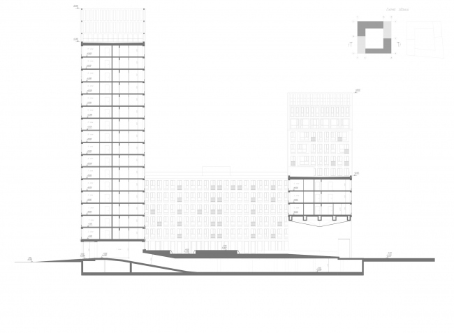 """Golden City"" residential complex. Block #6. Section view 2-2 © KCAP + ORANGE + A.Len"