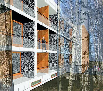 ВИДЫ ПРИРОДЫ  Архитекторам нравятся открытые балконы, террасы, беседки. Они считают их актуальными не только для южных стран. Прием может использоваться и в наших широтах. Buro Moscow предлагает современную и деликатную реконструкцию советского пансионата в Подмосковье. Все придумано так, чтобы максимально подчеркнуть живописную природу Звенигорода.