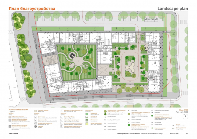 """Golden City"" residential complex. Block #7. Landscaping plan © KCAP + ORANGE + A.Len"