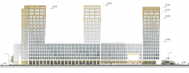 """Golden City"" residential complex. Block #7. Development drawing along the designed 13th Street © KCAP + ORANGE + A.Len"