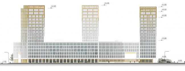 """Golden City"" residential complex. Block #7. Development drawing along the designed 13th Street © KCAP + ORANGE + A.Len"
