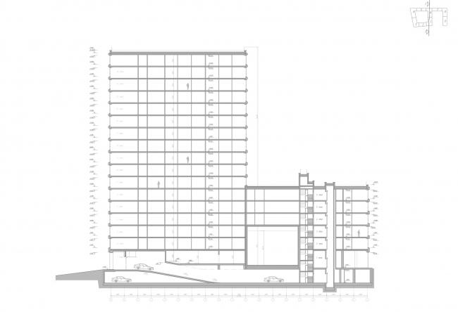 ЖК Golden City. 6 квартал. Разрез 1-1 © KCAP + ORANGE + Архитектурное бюро «А.Лен»