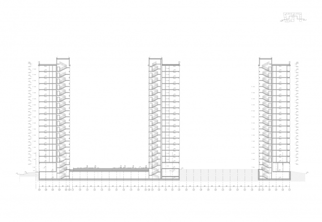 """Golden City"" residential complex. Block #7. Section view 2-2 © KCAP + ORANGE + A.Len"