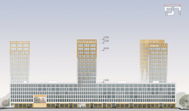 ЖК Golden City. 7 квартал. Фасад в осях 41'-1' © KCAP + ORANGE + Архитектурное бюро «А.Лен»