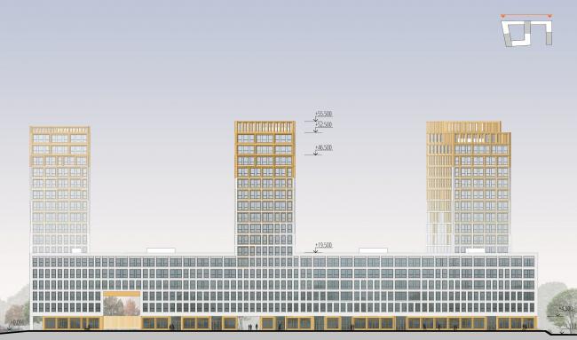 """""""Golden City"""" residential complex. Block #7. The facade in the axes 41′-1′ © KCAP + ORANGE + A.Len"""