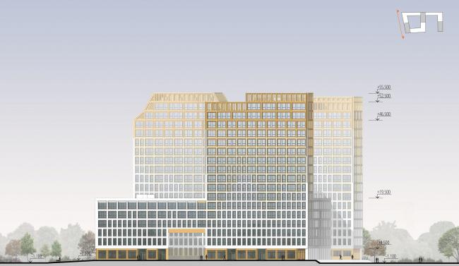 ЖК Golden City. 7 квартал. Фасад в осях Ц-А © KCAP + ORANGE + Архитектурное бюро «А.Лен»