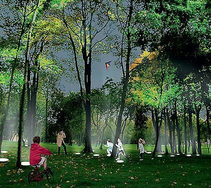 РАБОТА В ЛЕСУ  Парк в Химках стал единственной зеленой зоной в скучном, перенаселенном районе. Проект максимально сохраняет естественный лес, лишь облегчая прогулки горожанам. Маршрут обозначен вмонтированными в землю лампами, а границы парка оптически расширены зеркальными заборами.