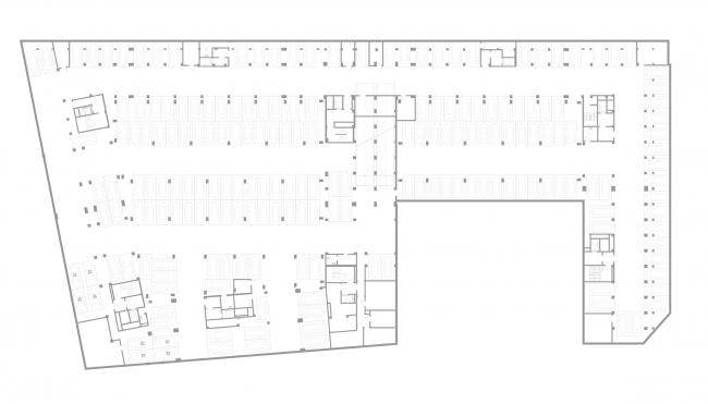 """Golden City"" residential complex. Block #7. Plan of the parking lot © KCAP + ORANGE + A.Len"