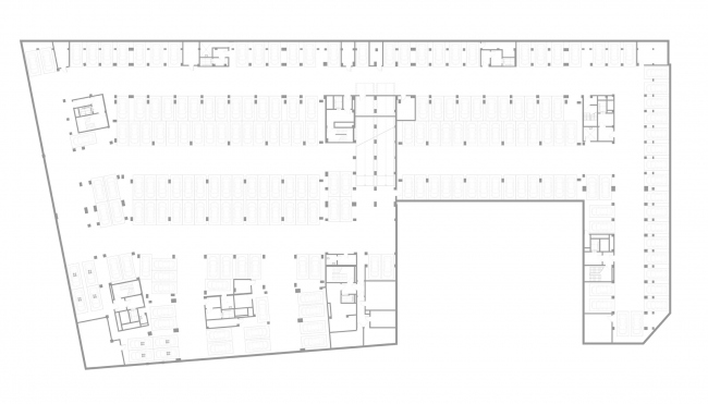 """Golden City"" residential complex. Block #7. Plan of the parking lot © KCAP + ORANGE + A.Len"