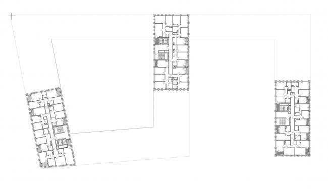"""Golden City"" residential complex. Block #7. Plan of the standard floor of the tower © KCAP + ORANGE + A.Len"