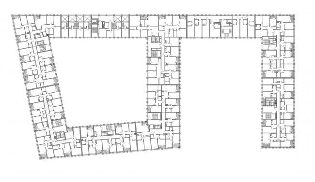"""Golden City"" residential complex. Block #7. Plan of the standard floor © KCAP + ORANGE + A.Len"