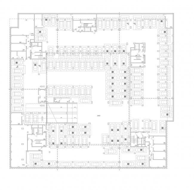 """Golden City"" residential complex. Block #6. Building 1, the underground floor © KCAP + ORANGE + A.Len"